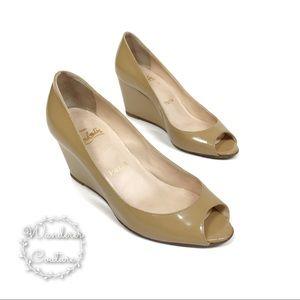 CHRISTIAN LOUBOUTIN Patent Leather Peep Toe Wedges